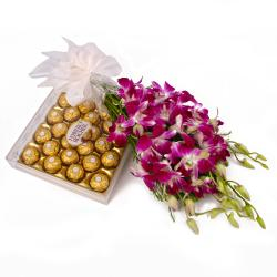 Bouquet of Six Purple Orchids and 24 Pcs Ferrero Rocher Chocolate