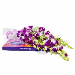Bouquet of Six Purple Orchids with 118 Gms Celebration Chocolate Box