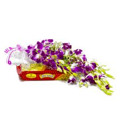 Bouquet of Six Purple Orchids with Sweet Soan Papdi