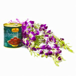 Bouquet of Six Purple Orchids with Tempting Gulab Jamuns