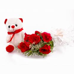 Bouquet of Six Red Roses and Teddy Soft Toy