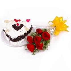 Bouquet of Six Red Roses with 1 Kg Heart Shape Black Forest Cake
