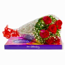 Bouquet of Six Red Roses with Celebration Chocolate Box