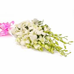 Bouquet of Six White Orchids Tissue Paper Packing