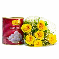 Bouquet of Six Yellow Roses with Mouthwatering Rasgullas