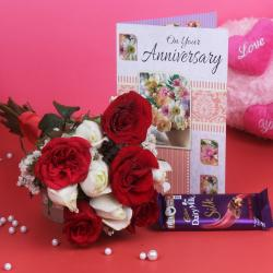 Bouquet of Ten and Greeting Card with Chocolates