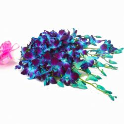 Bouquet of Ten Blue Orchids in Tissue Paper Wrapping