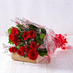 Bouquet of Ten Long Stemmed Red Roses