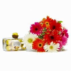 Bouquet of Ten Mix Gerberas with 200 Gms Ferrero Rocher Chocolate Box