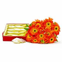 Bouquet of Ten Orange Gerberas with Kaju Katli Box