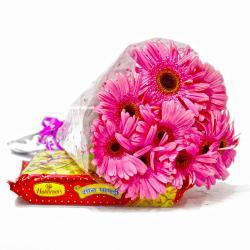 Bouquet of  Ten Pink Gerberas with 500 Gms Soan Papdi Sweet