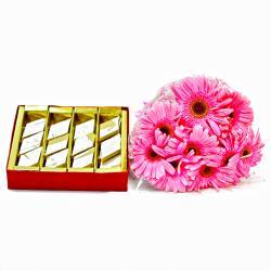 Bouquet of Ten Pink Gerberas with Box of Kaju Katli