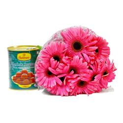Bouquet of Ten Pink Gerberas with Gulab Jamuns