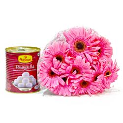 Bouquet of Ten Pink Gerberas with Tempting Rasgullas Sweet
