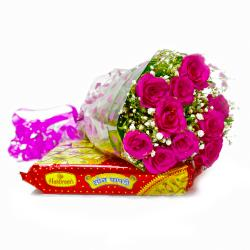 Bouquet of Ten Pink Roses with Soan Papdi Sweets