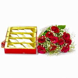 Bouquet of Ten Red Roses with Box of 500 Gms Kaju Barfi