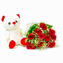 Bouquet of Ten Red Roses with Cute Teddy Bear