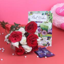 Bouquet of Ten Roses and Chocolates along with Greeting card
