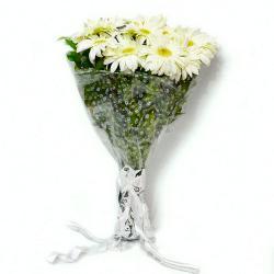 Bouquet of Ten White Gerberas