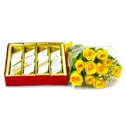 Bouquet of Ten Yellow Roses with Box of Kaju Barfi