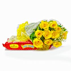 Bouquet of  Ten Yellow Roses with Box of Soan Papdi
