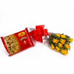 Bouquet of Ten Yellow Roses with Pack of Soan Papdi Sweet