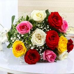 Bouquet of Twelve Colorful Roses