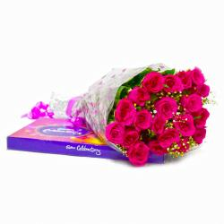 Bouquet of Twenty Pink Roses with Cadbury Celebration Chocolate Pack