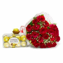 Bouquet of Twenty Red Roses with 16 pcs Ferrero Rocher Chocolates