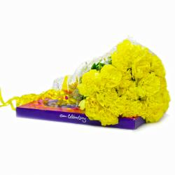 Bouquet of Twenty Yellow Carnations with Cadbury Celebration Chocolate Box