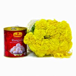Bouquet of Twenty Yellow Carnations with Tempting Rasgullas