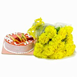 Bouquet of Yellow Carnations with Strawberry Cake