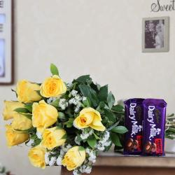 Bouquet of Yellow Roses with Dairy Milk Chocolates
