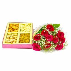 Box of 500 Gms Mix Dryfruits with Bouquet of Red Roses