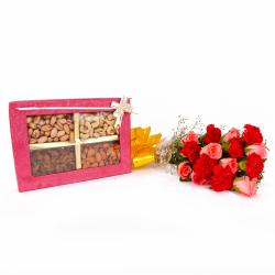 Box of Assorted Dryfruits and Bouquet of Roses with Carnations