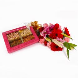 Box of Assorted Dryfruits and Lovely Fresh Flowers Bouquet