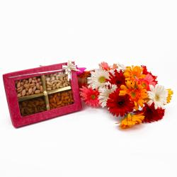 Box of Assorted Dryfruits with Colorful Gerberas Bunch