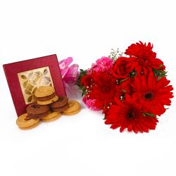 Box of Mix Cookies with Lovely Assorted Flowers