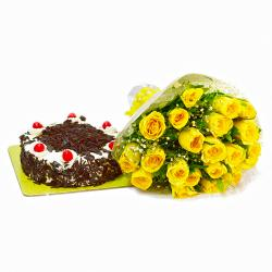 Bright 20 Yellow Roses with Black Forest Cake