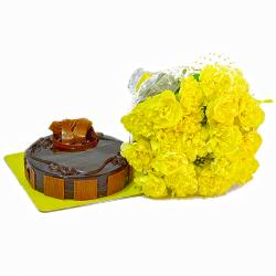 Bright Yellow Carnations and Chocolate Cake