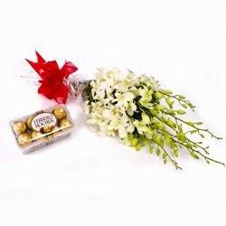 Bunch 6 White Orchids and 16 Pcs Ferrero Rocher Chocolates