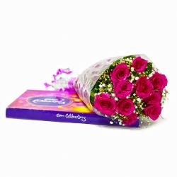 Bunch of 10 Pink Roses with Celebration Chocolate Box