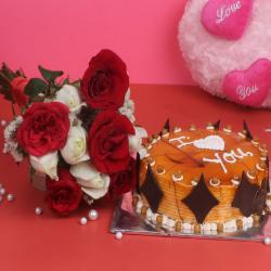 Bunch of 10 Red and White Roses with Half Kg Round Butterscotch Cake