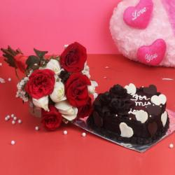 Bunch of 10 Red and White Roses with Heart Shaped Chocolate Cake