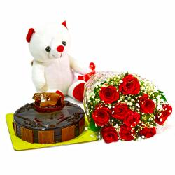 Bunch of 10 Red Roses with Cute Teddy and Half Kg Chocolate Cake