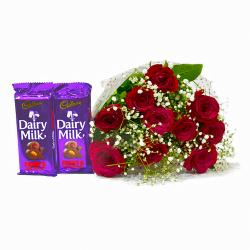 Bunch of 10 Romantic Red Roses with Bars of Cadbury Fruit N Nut Chocolates