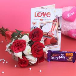 Bunch of 10 Roses with Cadbury Dairy Milk Chocolate and Love Card