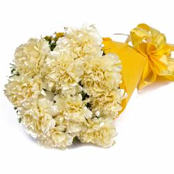 Bunch of 10 Yellow Carnations in Tissue Packed