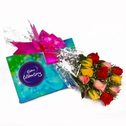 Bunch of 12 Multi colour Roses and Cadbury Celebration Chocolate Box