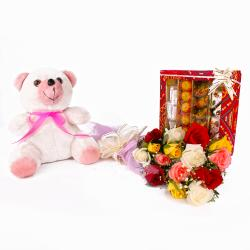 Bunch of 15 Colorful Roses with Teddy Bear and Assorted Sweets